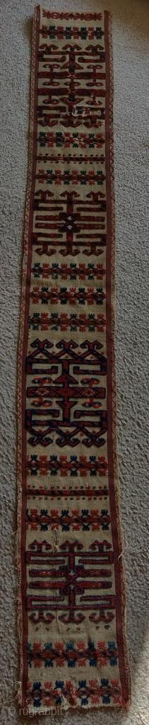 "Tekke Turkmen tent band fragment. Nice narrow one, 8.5""x75""."