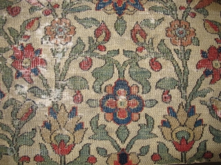 18th century Khorossan fragment with highly stylized vegetal leaves, flowers and strong East Persian minakhani references. Very finely woven, more remarkably so for a jufti knotted piece, with thread-like cotton warp and  ...