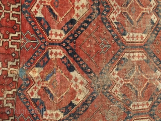 """Ersari or some other Middle Amu Darya area Turkmen rug with an ikat derived design. Former David Rueben piece published in """"Gols and Guls"""" as a possible ensi. Worn but intriguing."""