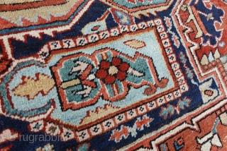 ANTIQUE___PERFECT.SERAPI.HERIZ.__ANTIQUE    268cm x 343cm or 8.7 x 11.2  Antique super nice tribal collectors Serapi.Heriz. carpet with ultra rare sky-blue corners, large Serapi medallion design, softest wool quality, happy making tribal beauty, great original pile,  ...