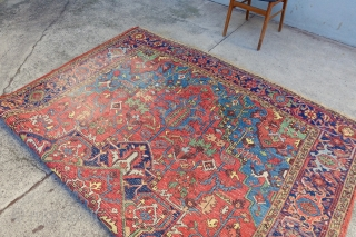 Antique fresh arrival Heriz, USA: 10'4 x 7'7 / EUROPE 319 x 237 cm, sold, thank you, , nice size, age and colors, needs a wash, enjoy.