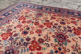 ANTIQUE SIGNED CAMEL CHORASSAN, RARE FLOWER BOUQUET FIELD ON A CAMEL GROUND, FINE KNOTS, 7'0 x 10'3 or 214 x 314cm, $ 1500 + $55 ship