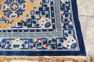 ANTIQUE CHINESE GOLDEN METAL THREAD LARGE CHINESE CARPET,      10'4 x 8'1 or 318 cm x 249 cm   GREAT OVERALL ORIGINAL PILE IS GIVEN, SMALL PUNCTUAL MOTH SPOTS, SOME GLUE REMINANTS ON  ...