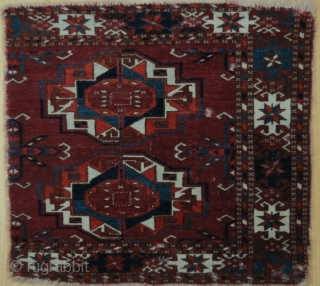 Ancient Teke torba fragment, 43 x 41, great colors, great drawing, rarity, like  velvet
