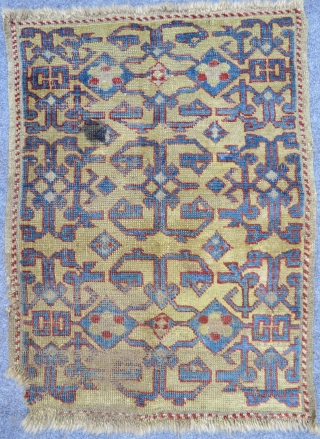 This yastik is prob. Western Anatolia, so far nothing like that has ever appeared. It is radiocarbon dated to the 17th c. Wonderful play of positiv-negativ.