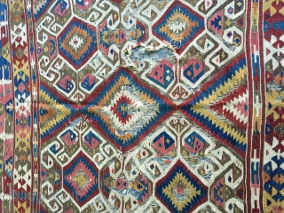 Anatolian kilim sw Anatolia(Fetiye or Antalya?) circa 1800  185x135 featuring a desing that is seldom if ever seen,this kilim may very well date to the 18th century. The desing seen in  ...