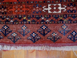 "Ersari Turkmen chuval with staggered chuval guls, no secondaries.  Late 19th C.  Generous size--35"" x 58"" (98cm x 147cm).  Good condition.  Good pile all over.   All  ..."
