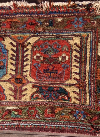 """AFSHAR SMALL BAG 22"""" x 14"""" (56 cm x 36 cm).  Interesting field design with oversized rotund botehs.  Great natural colors.  Unfortunately, lots of places (amounting to several square  ..."""