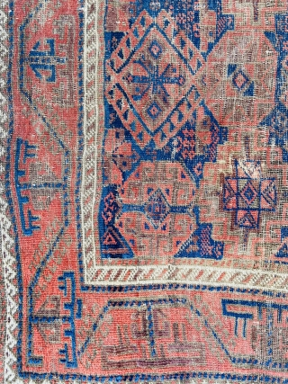 """Baluch - about 3.3 x 5.8 inc Kilim ends.  As found with oxidation and wear.  Nicely executed turkman """"boat"""" border."""