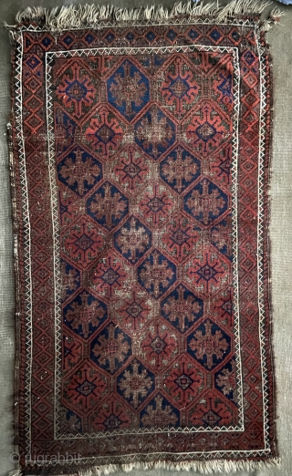 Baluch - about 2.7 x 4.6 'as found' with oxidation, wear, and unraveling ends.