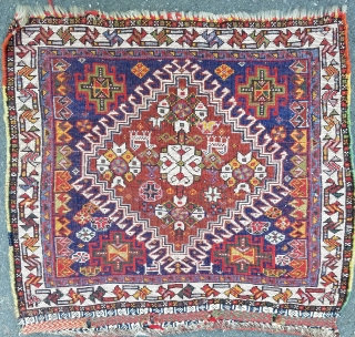 """Qash'qai bagface - about 22"""" × 22"""". Nice weave, red weft, good pile, original, combination synthetic and natural dyes, no bleeding, crisp drawing."""