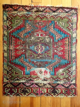 "Anatolian yastik - about 24"" x 29"".  Wonderful color and squarish size.  'As found' condition with few scattered old crude repairs. Nice example."