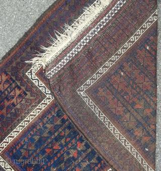"fine Baluch prayer 3'5"" x  4'7"" no repairs, good colors 19th century"