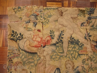 "Antique European Tapestry Fragment - 31"" x 48"""