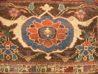 4' 3'' x 4' 4'' c. 1875 Bijar Wagireh (sampler)