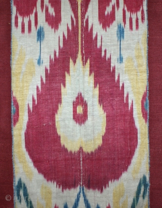 Beautiful 19th century Uzbek Ikat panel, silk wrap cotton weft Adras. excellent natural colours and condition. (it has backed on linen.) The size is, 170 cm X 33cm. Offer fair price.