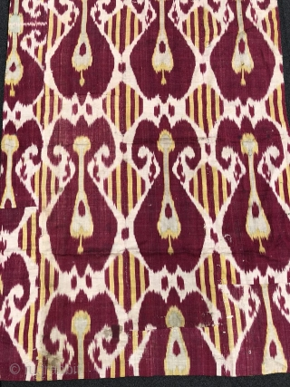 Antique 19th century Uzbek Adras (silk wrap/cotton weft) Ikat panel. Beautiful natural colours. The size is: 88cm X 132cm. Offered reasonable price.