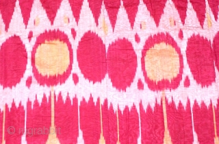 Beautiful 19th century Uzbek Buchanan region Ikat panel (silk wrap/ cotton weft) Adras. Excellent natural colours, and design.(pattern). Good condition. The size 120cmX190cm (47.2 X 74.8 inches). Offered reasonable price.