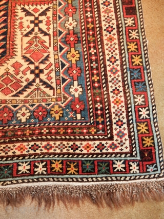MARASALI SHIRVAN - ALL ORIGINAL AND COMPLETE WITH THE BRAIDED ENDS AND GOOD SIDES- ALL NATURAL DYES - LARGE 4 X 5 FOOT SIZE- RIGHT OFF THE WALL OF A FINE PRIVATE COLLECTION  ...