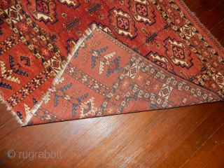 excellent plus condition -full pile - no repairs - color change right side is original abrash color, not a stain
