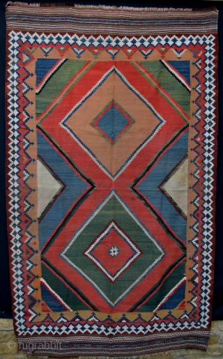 Antique Qashqa'i kilim - some minor staining - otherwise good overall condition.