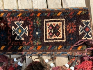 A complete Baluch camel neck-band in excellent full-pile condition and with highlights of silk throughout.