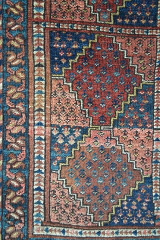 """Middle Amu Darya group Ersary Turkmen rug with unusual field design and in good overall condition albeit pile is evenly low. 1.27m x 0.82m (4' 2"""" x 2' 8"""")."""
