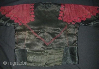 North Syrian Woman's Jacket. Early 20th c. Cross stitch embroidery on satin silk material. Excellent condition and wearable (uk size 10).