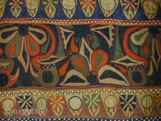 Old Festival Bullock Cover (Jhul). Saurashtra, Gujarat, India. Silk floss embroidery, beads, cotton and silk applique.106 x 76 cms. Excellent condition.