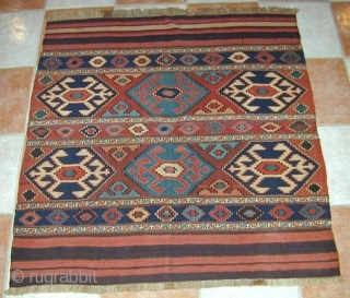 Shahsavan Flatwoven Mafrash Panels. 19th c. Great natural colours & excellent condition. 111 x 104 cms.