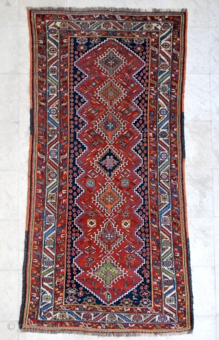 Veramin (Varamin) probably made by the Bakhtiari of that area. Early 20th c. 130 x 263 cm. High pile with no repair. Excellent colors.