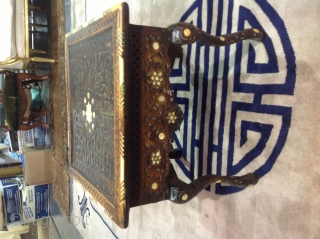 Damascus work table, late 19th century, inlayed with mother of pearl. 40cm high x43x43cm