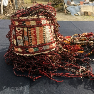"""Turkmen yurt """"storm band"""". Cm 480x14. Antique, colorful, beautiful and in very good condition. As far as I know such length bands were used in the yurts to keep down the center  ..."""