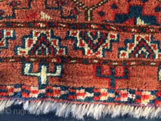 Turkmen Ersari khorjin bag face. Cm 46x56. Good age, good colors, good pattern. Full pile, good condition.