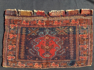 Totemic Afshar pile bag face. Cm 33x50. End 19th c. All natural dyes. Lovely, small & beautiful. Outstanding piece. Ex collection BF.