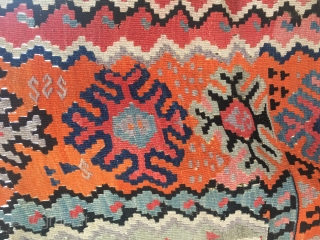 Eastern Anatolia. In between Bayburt and Erzurum. Cm 150x195. End 19th c., if not before. Very rare type of kilim. In good condition.
