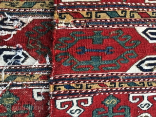 """Shahsavan sumack/flatweave mafrash wonder. Fyi some say it could be Karabagh. Cm 118x126 ca. End 19th c. Great colors, lovely, fine, precise, unusual drawing: See the 64 lying """"s"""" good luck symbols.  ..."""