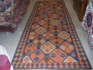 Ardebil kilim wide runner.  Cm 137x423 ir ft 4.5x13.6 ca. Early 20th century. Good condition, minor wear. Not expensive.