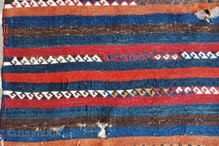 Malatya, Eastern Turkey, kilim fragment. Size is cm 188x74. Age should be around mid 19th century. Colors are bright, strong, wonderful. Pattern is the top of simplicity. 