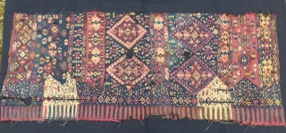 Van, Eastern Anatolia, kilim fragment. Cm 72x176. Datable 1880/1890. Great, wild pattern. Lovely colors. In bad condition, with holes, tears, etc., but still highly enjoyable. I would suggest to have it professionally  ...