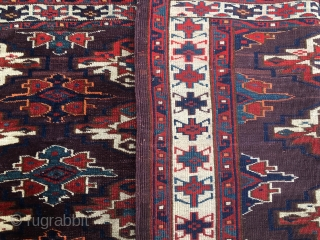 Turkmen Yomut super cuval. 3rd q 19th c. Liver background, very detailed pattern with 9 great main guls, lovely side guls, insect border, marvelous colors, good condition, full pile.