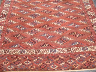 yomud - main carpet - 1850-1900 - cm 324x213 - some small stains, some old minor restorations, but with great, colorful elems/ends and with lot of aura/charisma - a real, rare collection  ...