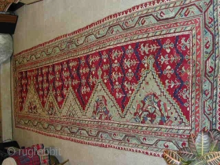 "Ushak saf. Cm 140x420 or ft 4.6x13.7. Early 19th. Lovely natural dyes, good condition, old minor repairs. A real abstract art ""painting"". More infos & pics on rq. I bought this wonderful  ..."