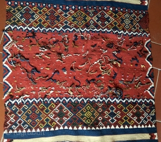 """Eastern Anatolia Malatya wedding kilim strip. Size is cm 88x372. Datable end 19th/early20th c. In mint condition. Great, natural colors. Lots of """"dileks""""/wishes."""