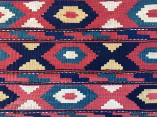 Caucasian flatweave mafrash panel. Cm 46x94. Late 19th, early 20th c. Great, deep colors, see the different blues. Some old restorations. Lovely decorative item.