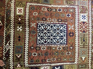 Fantastic Reyhanli kilim. 1840/1860. Cm 360x180 ca. Oxidization on some dyes. Distressed, but still showing its immense beauty. Great colors, great pattern. Summer bargain, below 1k + ship. Better pics soon.