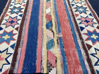 Stars & Stripes. Caucasian, most probably Shirwan, kilim fragment. Cm55x75. Mid or 3rd q 19th century. Very very fine weave. Great natural saturated colors. White, red and blue as main colors. Black  ...