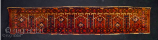 Turkmen Ersari trapping. Cm 33x170. Late 19th/early 20th century. In good condition, full pile. Beautiful collection item. Lovely yurt? design with trees? in between. The graphic is great!