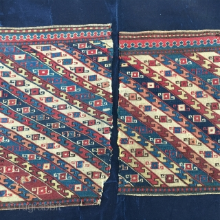 Azerbaijan, Baku, Khyzy village. Set of sumack khorjin bag faces or mafrash end panels. Lovely pattern, fantastic saturated colors, incredibly fine weave. Cm 30x40 ca each. Very rare twins. Collector's, museum tribal  ...