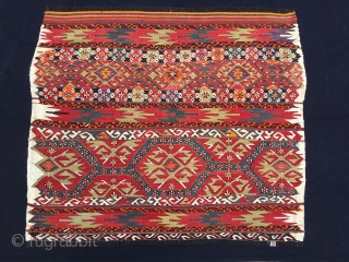 Eastern Anatolia, probably Mut region, grain bag face. Cm 90x105. 1st q 20th c. Very intriguing, colorful & elaborate pattern. They used goat hair for warp. Lovely, decorative tribal item.